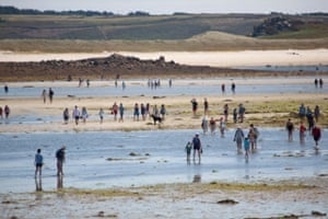 Walking from Tresco to Bryher at low tide.