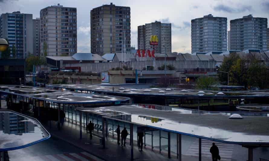VIew of the last subway and bus stop inside the Parisian transportation system before entering the suburb of Bobigny