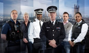In The Met: left to right, PC Andy Perversi, DS Tracey Miller, Ch Supt Victor Olisa, Commissioner Sir Bernard Hogan Howe, Det Sgt Bob Dolce and PC Sonia Rochester.