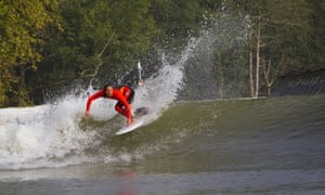 Surf champion Carissa Kainani Moore pratices at Wave Garden in Aizarnazabal, Basque Country, Spain