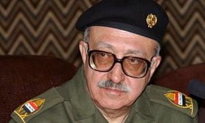 Tariq Aziz speaking in Baghdad