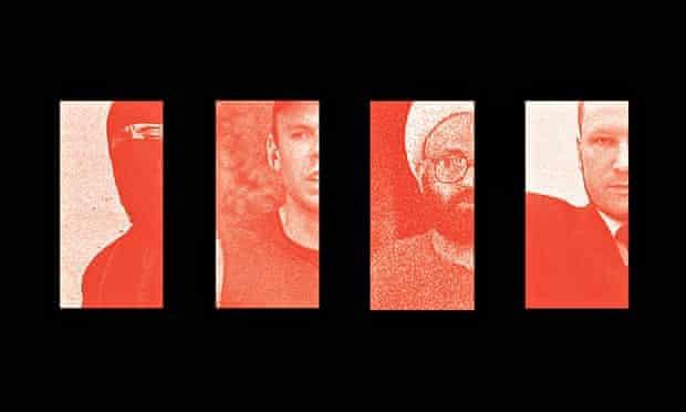 Fatally flawed … Jihadi John, Andreas Lubitz, Man Haron Monis and Anders Breivik. Photomontage: Andr