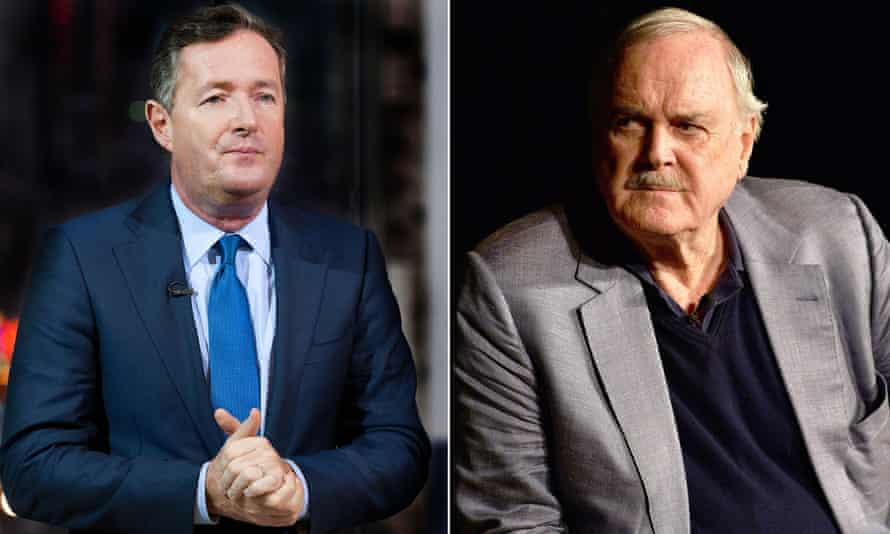 John Cleese vents his distaste for Piers Morgan on Twitter after restaurant meeting.