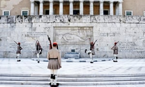 The presidential guard in front of the parliament in Athens, Greece.