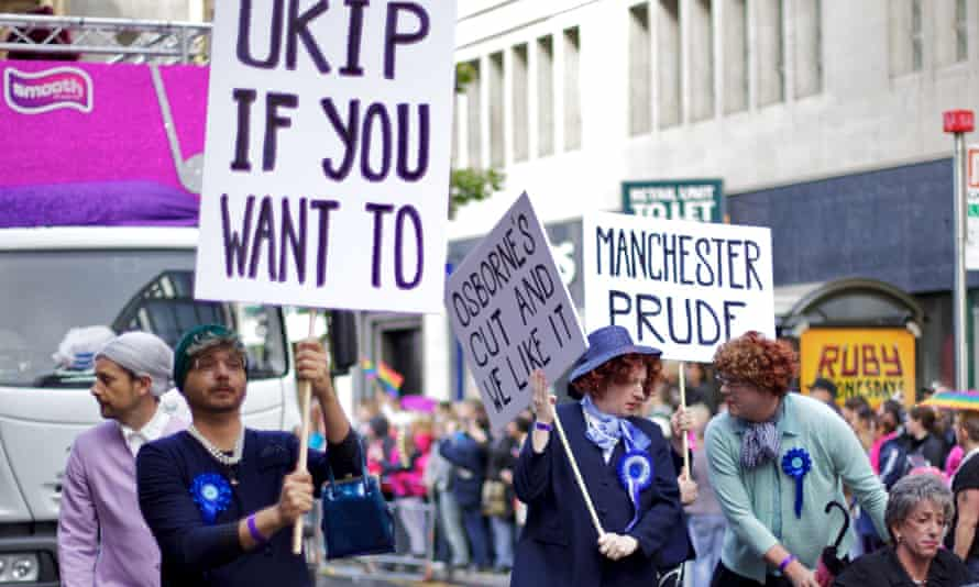 The Salford Ladies United Temperance Society namecheck Ukip on a placard during a gay pride march in Manchester.