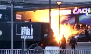 Terror: Police storm the Hypercacher supermarket in Paris in January.