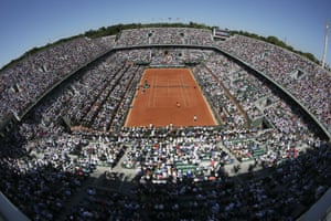 It's a lovely day at a packed Roland Garros stadium in Paris.