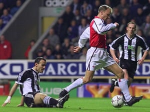 Nikos Dabizas can only watch on as Bergkamp gives Arsenal the lead.