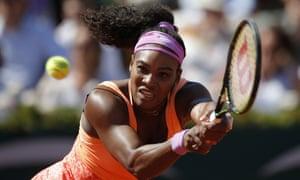 Serena Williams focuses as she returns to Safarova.