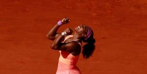 Serena Williams celebrates her 20th Grand Slam title.