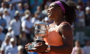 Serena Williams poses with the Coupe Suzanne Lenglen trophy after winning the Women's Singles Final, her 20th Grand Slam title.