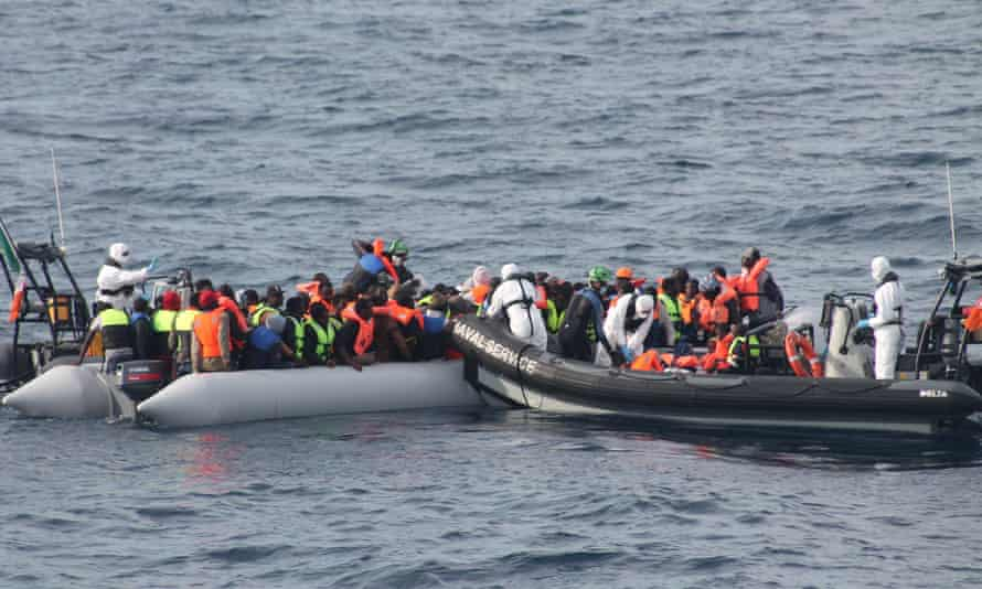 The crew of the Irish navy ship LÉ Eithne rescued 113 people from aboard a small craft north of Tripoli, on Friday