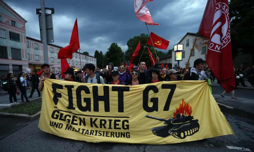Anti-G7 protesters demonstrate against the summit as leaders prepare to gather in Garmisch-Partenkirchen.