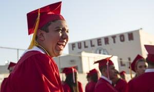 Fernando Rojas, a senior at Fullerton High School, attends his graduation ceremony in Fullerton, California.