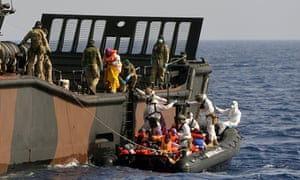 Landing craft from HMS Bulwark on a rescue mission.