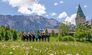 Fantasy in Bavaria: G7 leaders pose for a photo opportunity before their meeting opens at Elmau Castle.