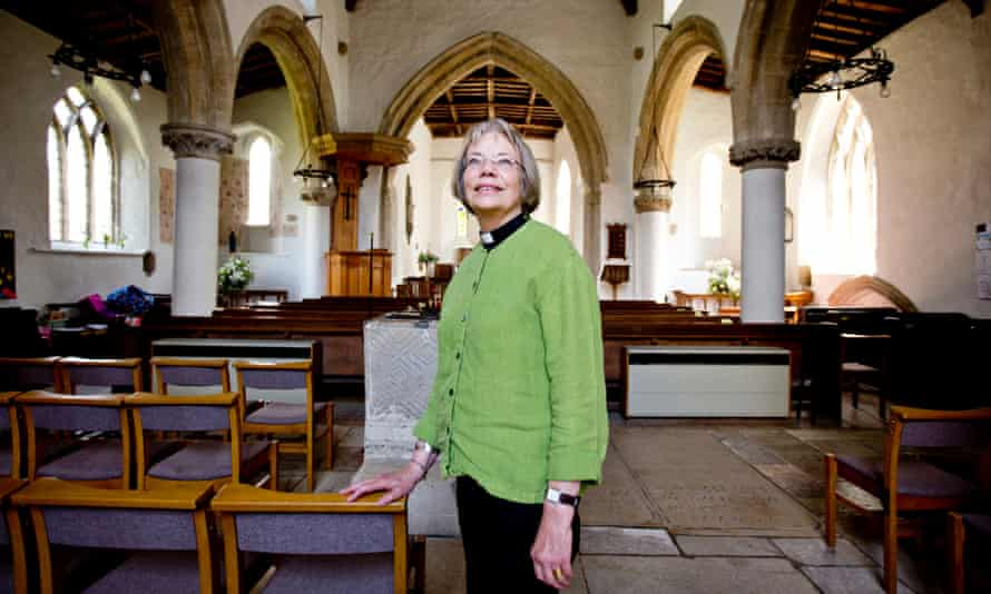 The Rev Jo Saunders at the Church of St. Peter and St Paul in Great Casterton, Leicestershire.