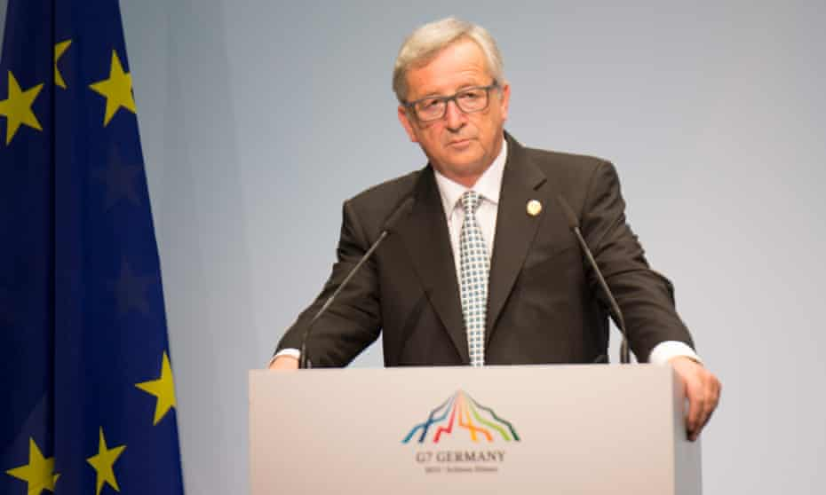 Jean-Claude Juncker speaks at the G7 summit in Germany on Sunday.