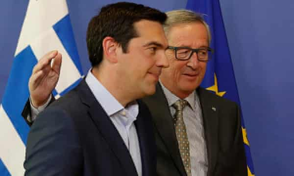 Jean-Claude Juncker, left, and Greek prime minister, Alexis Tsipras, prior to a meeting in Brussels on Wednesday.