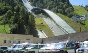 Ski jump and police