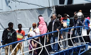 Rescued migrants