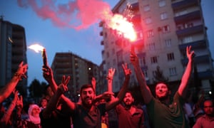 People celebrate election results of the pro-Kurdish Peoples's Democracy party.