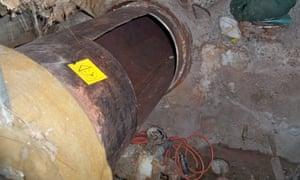 A cut through steel pipes the Clinton Correctional Facility.