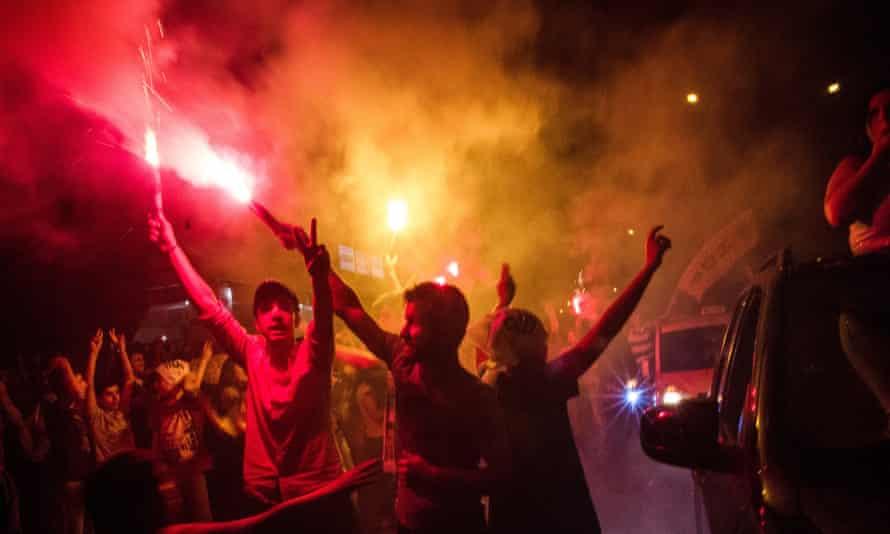Kurds celebrate the success of the pro-Kurdish HDP party.