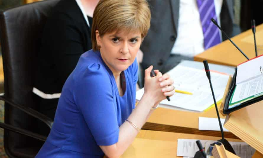 Nicola Sturgeon speaking at first minister's questions in the Scottish parliament.