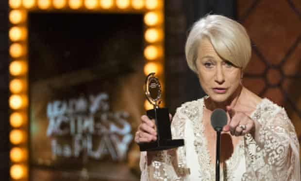 """British actress Helen Mirren accepts the award for Best Performance By An Actress In A Leading Role In A Play for """"The Audience""""."""