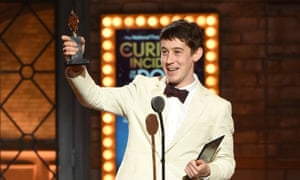 Alex Sharp holds his Tony for best leading actor in a play for the night's big winner, The Curious Incident of the Dog in the Night-Time.