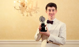 """Alex Sharp, winner of the award for Best Performance by an Actor in a Leading Role in a Play for """"The Curious Incident of the Dog in the Night-Time""""."""
