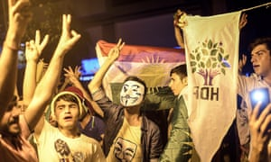 Supporters of pro-Kurdish Peoples' Democratic Party (HDP) celebrate in the streets of Diyarbakir following the Turkish election.