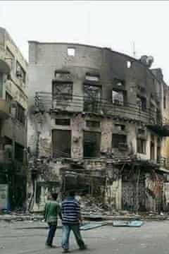An apartment building in Aden, Yemen destroyed by artillery fire on April 2nd.