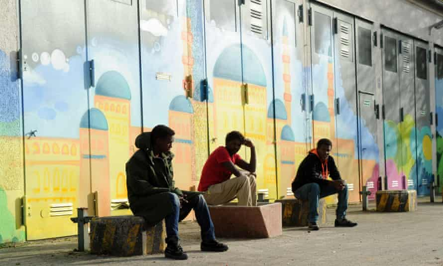 Refugees from Eritrea in the reception center for asylum seekers on the Bavaria Barracks (Bayernkaserne) in Munich, Germany,