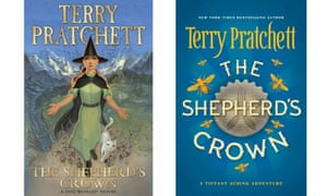 The UK and US cover designs for Terry Pratchett's final Discworld novel, The Shepherd's Crown.
