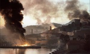 The harbour in Dubrovnik, Croatia, under heavy bombardment in November 1991.