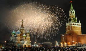 Fireworks over St Basil cathedral on Red Square.
