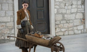 """""""Oysters, clams, and cockles!"""" Arya pioneers the Braavos food truck scene."""