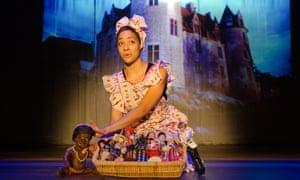 Cush Jumbo in her one-woman tribute to Josphine Baker, Josephine & I, at the Bush theatre, London, 2013.
