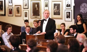 Richard Dawkins speaks at the Cambridge Union debate about the role of religion in the 21st century, in 2013.