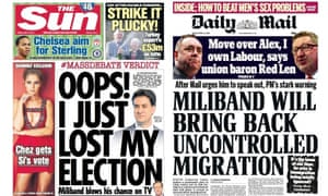 Sun and Daily Mail front pages attacking Ed Miliband