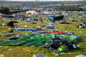 Rubbish and abandoned tents in the camp site at Glastonbury festival, UK on 1 July 2013