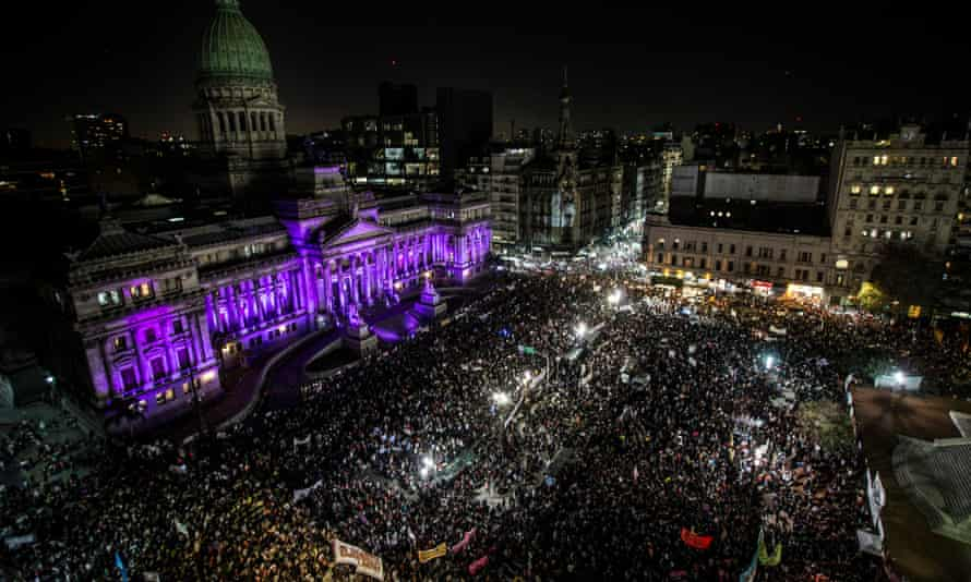 Thousands take part in a demonstration demanding policies to prevent femicides in Buenos Aires, Argentina.