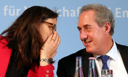 EU Trade Commissioner Cecilia Malmstroem and US Trade Representative Mike Froman in discussion at the German Ministry for Economic Affairs in Berlin, 2 June 2015. Earlier, the politicians took part in the discussion event 'The Transatlantic Partnership - Selling off European Values or a Building Block for Europe's Future?'.