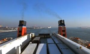 Stena Line cargo ferry leaving Hook of Holland bound for Harwich in the UK, Netherlands.StenaLinecagofreightlorriesferryRo-RoriverRhineshipshippingHookofHollandNetherlandsDutchexportsimportsexportingimportingvesselholddeckfunnelsshipmentrollon-offonoffEuropeantransporttransportationfunnelsshippingcargotrucksNorthSeashipsferriesEuropeanbusinessindustryindustries
