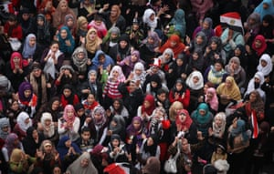 A group of female protesters in Cairo's Tahrir Square, November 2011, where Eltahawy was sexually assaulted and beaten.