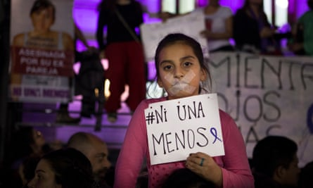 Protesters in Buenos Aires rallied round  the hashtag  #NiUnaMenos – 'NotOneLess', meaning not losing one more woman to violence.