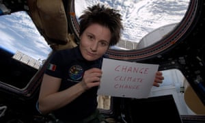 ESA astronaut on ISS from Italy Samantha Cristoforetti hold her message on Earth Hour