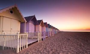 Dawn over new beach huts on Mersea Island
